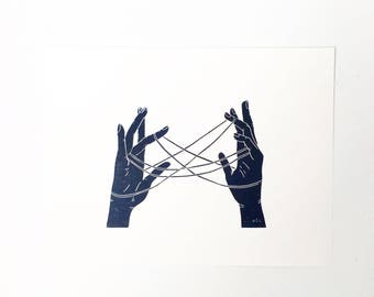 Cats Cradle  //  Lino Print - Block Print - Modern Art - Linocut - Printmaking