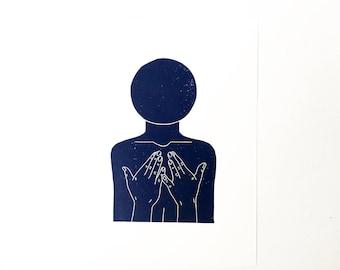 Come A Little Closer  //  Lino Print - Block Print - Modern Art - Linocut - Printmaking