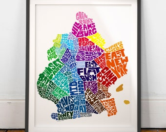 Brooklyn Neighborhood Map Art Print, Brooklyn wall decor, Brooklyn typography map art