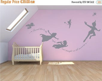 SALE Peter Pan Wall decal, sticker custom mural, second star to the right. Fantasy fairytale magic tinkerbell, nursery, pixiedust