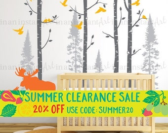 Moose and Birch Tree Wall Decal, Birch and Fir Forest, Birch Trees Decal with Birds and Moose for Birch Nursery, Kids or Childrens Room 138