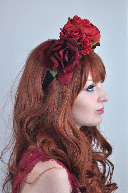Crimson Red Flower Crown Headpiece Fall Headpiece Winter Flower