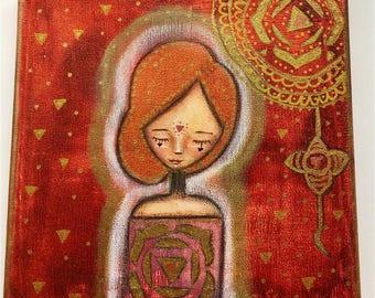 Root Chakra Girl Art Work. Mixed media artwork. Original Art for Sale, Original Art Work, Fine Art, Original Painting, Gift Women