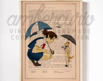 The Cat Returns Moments Shared Baron the Cat Ghibli Inspired Print on a Unique  Unframed Upcycled Bookpage