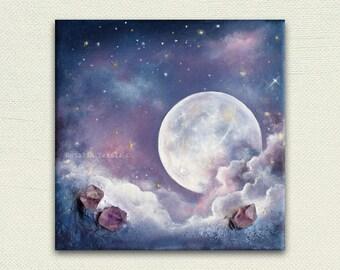 When the Moon Shines Bright, 3 d textured art, Original Mixed Media painting, third eye crown chakra blue purple indigo amethyst