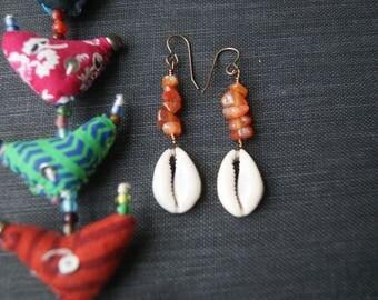 Carnelian Gemstone Dangle Earrings,Seashells Dangle,Handmade Earrings,Carnelian and Sea,Handmade with love,Nature Carnelian,Ooak Earrings