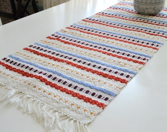 Rustic table mat, vintage Swedish farmhouse table runner , striped woven home decor