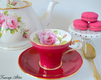 Aynsley Red Corset Teacup and Saucer With Large Pink Rose,  English Bone China Tea cup Set, Tea Party, ca. 1934-1939