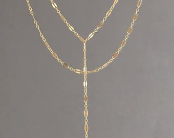 Gold Fill Double Strand Layered Y Lariat with SINGLE Drop Chain also in Sterling Silver