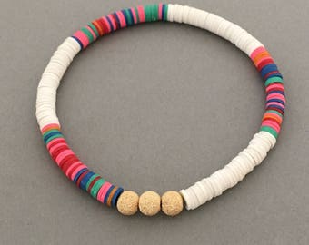 Three Wishes Rainbow and White Vinyl Beaded Bracelet in Gold, Rose Gold, or Sterling Silver