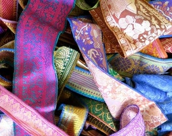50 Yards Mixed Silk Sari Borders, Sari Trim, SR71
