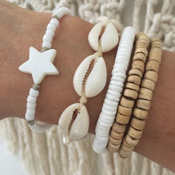 boho jewelry, white beach bracelet stack, bohemian gypsy mermaid