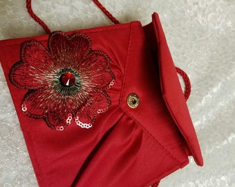 Red Small Purse, true red satin purse, prom red bag, evening bag red, valentines red purse, red evening bag