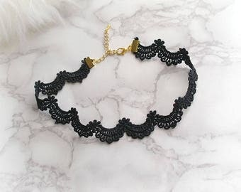 Choker Necklace Black Lace Scalloped jewelry goth chic gothic