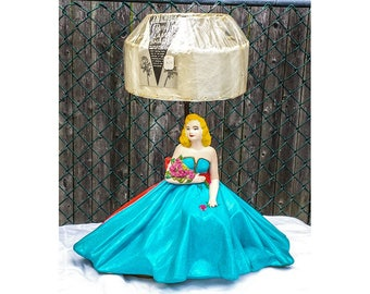 1940's Beauty Queen Lamp Double Fiberglass Shade Dressed for the Prom