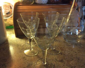 Etched Crystal Decanter & Glasses,Vintage, Romania