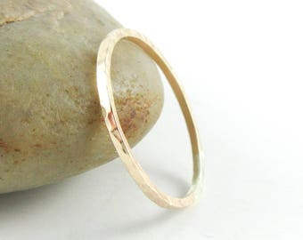 14K Gold Filled Ring, Thin Hammered Ring, Slim Gold Ring, Stacking Ring, Thin Gold Band Ring, Textured Ring, Skinny Stack Ring, Midi Ring