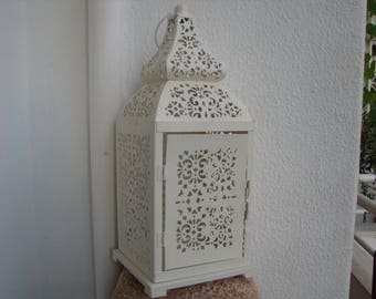 Vintage,cream,ivory,ornate tin lantern,ornate Moroccan style,filigree,one side is door,ring to hang.