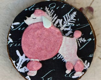 Wood slice ornament, pink french poodle Christmas ornament, birch slice, tree slice, art on wood slice, dog, pink and black, fluffy
