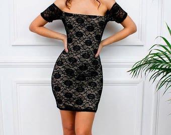 "ON SALE New Womens Ladies Celeb Party Summer ""St Tropez"" Black Lace Short Sleeve Bardot Mini Bodycon Dress"