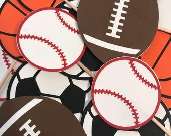 Sports Cupcake Toppers, Basketball Football Soccer Baseball Cupcake Toppers