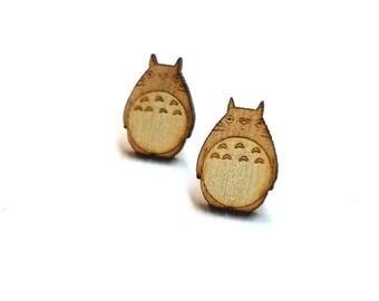 Totoro Earrings  Laser Cut Jewelry   Hypoallergenic Studs   Wood Earrings