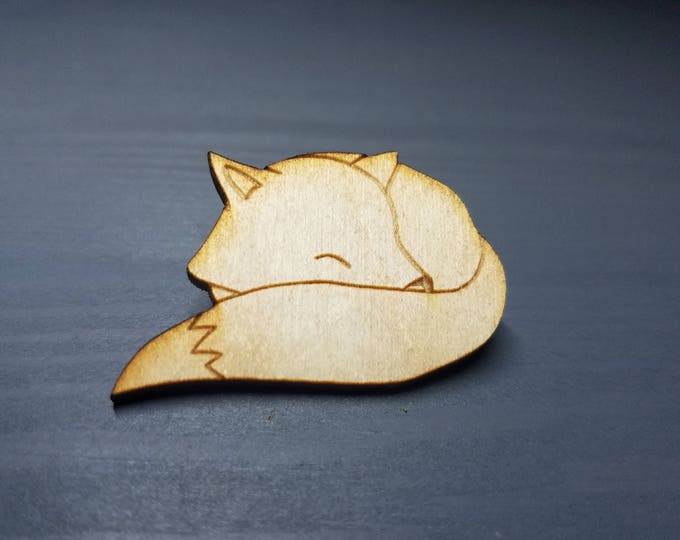 Rodger the Sleepy Fox Pin | Laser Cut Jewelry | Wood Accessories