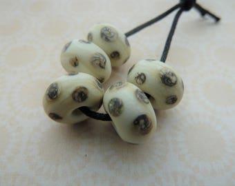 handmade lampwork ivory spot glass bead set UK