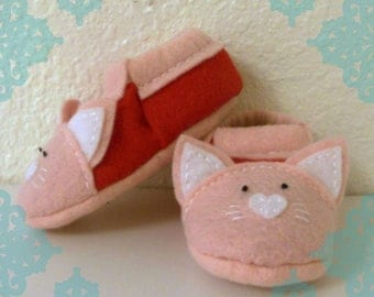 Felt Cat Baby Slippers- Red and Light Pink Felt Kitten Baby Shoes