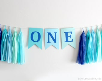 Aqua Blue One Banner Tissue Paper Tassel Garland- First Birthday, 1st Birthday, One Year Old Party Decorations