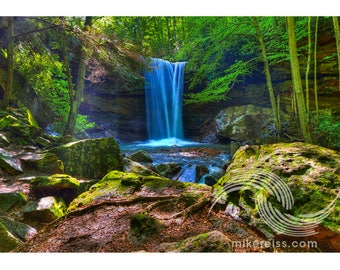 Cucumber Falls, ohiopyle, pa, laurel highlands, waterfall, water, green, nature, ethereal, serene, beautiful, lush, reflective, rocky