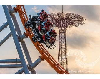 Coney Island, thunderbolt, summer, fun, playtime, brooklyn, nyc, print, pentax, day, july, ride, clouds, sunset, beautiful, unique, speed