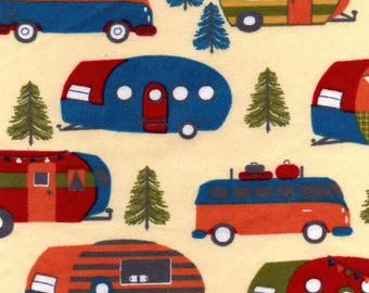 Snuggle Flannel Prints - Campers and Pines - Sold by the Yard