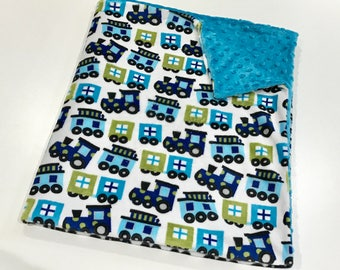 Blue Trains Baby Boy Blanket, Train MINKY Baby Blanket, Minky Baby Blanket, Baby Boy Blanket, Baby Shower Gift, Ready to Ship