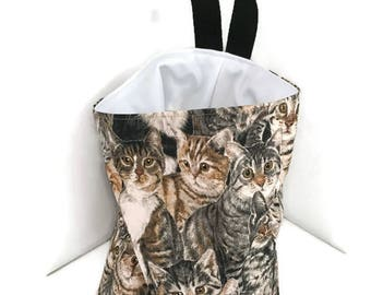 Tabby Cat Car Trash Bag, Car Accessory, Storage Bag, Auto Trash Bag, Waterproof Car Bag, Organizer Bag, Storage Pod, Hanging Bag