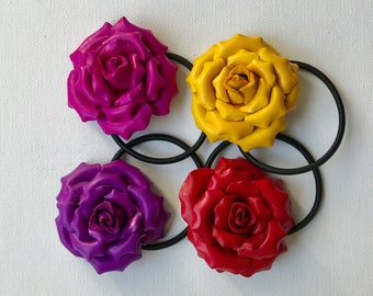 Leather flower hair ties and ponytail holder