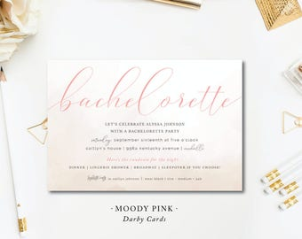 Moody Pink Bachelorette Invitations