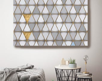 "Gray and Gold 4, Extra Large Industrial Geometrical Gray Gold Canvas Art Print Wall Decor, Modern Wall Art up to 48"" by Irena Orlov"
