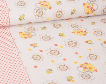 Shinzi Katoh | Japanese fabric - kawaii bees - cotton shirting - salmon pink and yellow 1/2 YD
