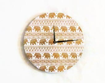 Elephant Home Decor, Gold Foil and White Wall Clock,  Unique Wall Clock, Eco Home Decor, Home and Living, Decor and Housewares