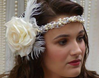 Gatsby Bridal Hair Crown Halo Garland
