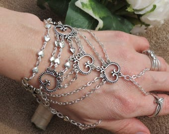 Silver Hand chain Wedding chain Slave Bracelet ring bracelet Hand jewelry Bracelet with thumb ring attached SILVER slave ring Bracelet