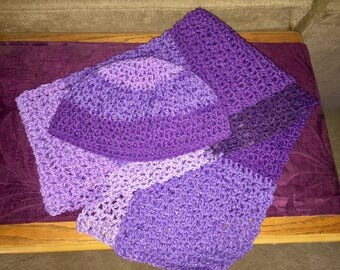 5 Shades of Purpke Hat & Scarf