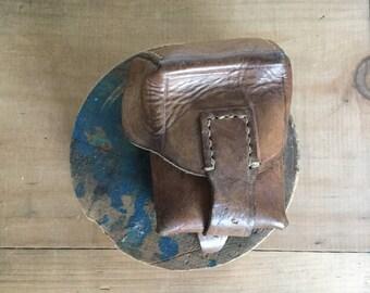 1950s era leather coin wallet Cash hip pocket belt bag Film canister belt pouch camera man small cellphone square box bag attachement