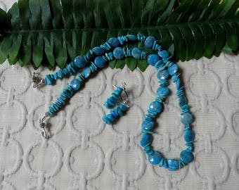 19 Inch Southwestern Natural Blue Turquoise Coin and Nugget Necklace with Matching Earrings