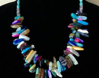 21 Inch Southwestern Double Strand Stick Bead and Turquoise Necklace with Earrings