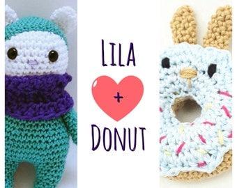 Crochetbundle,2 crochetpatterns, bear Lila + Donutbunny, step by step, tutorial, pdf, direct download, amigurumi, crochetgift