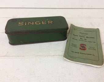 Vintage Singer Sewing Machines Tin~Instructions Book~Sewing Shuttle~Shabby Chic~