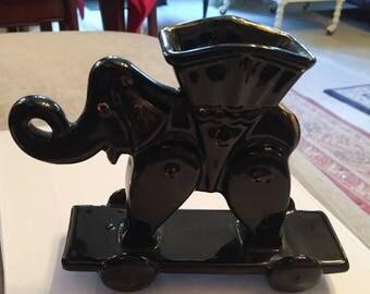 Black Elephant Trinket Box, Art Deco Vintage SUMMER SALE