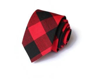 Buffalo Plaid Mens Necktie~Cotton Necktie~Red and Black Necktie~Buffalo Check~Buffalo Check Tie~Christmas Tie~Christmas Pictures~Xmas Tie